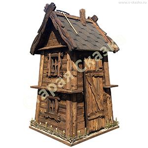ДС-ТД / Мельница-домик «Трит-макси» из доски под старину, с основанием для инвентаря